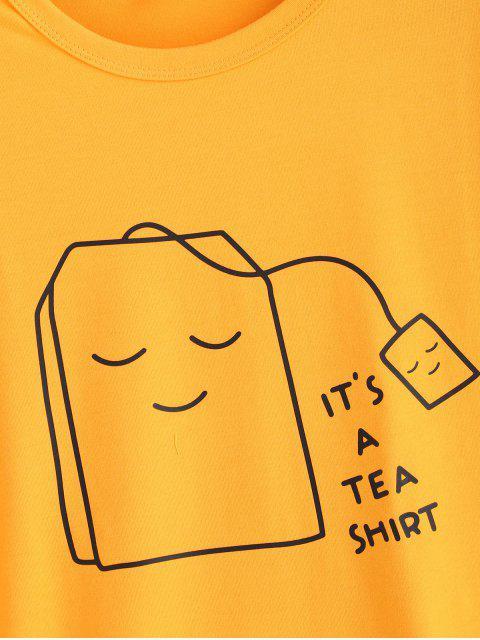 shop Tea Graphic T-shirt - BRIGHT YELLOW M Mobile