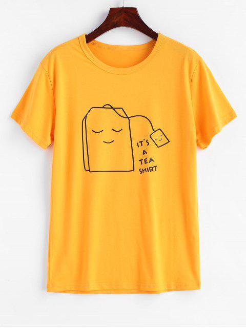 Tee-Grafik-T-Shirt - Helles Gelb 2XL Mobile