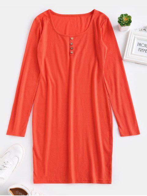 Vestido corto de manga larga ajustado ZAFUL - Naranja Brillante M Mobile