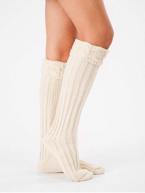 sale Solid Color Knitting High Knee Socks - WHITE  Mobile