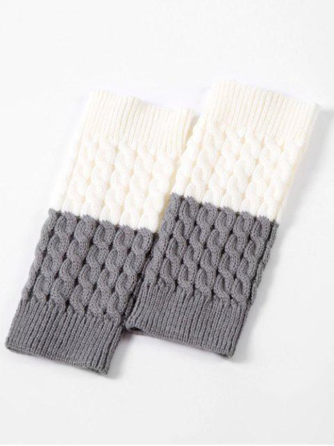 buy Vintage Color Block Knitting Leg Warmers - LIGHT GRAY  Mobile