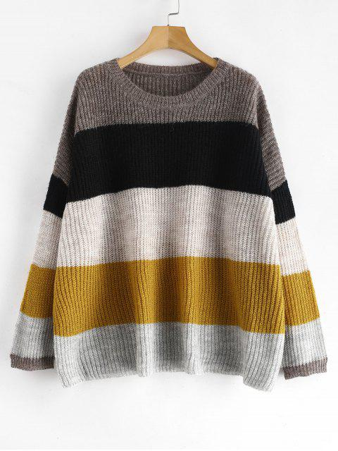 outfit Loose Knit Striped Oversized Sweater - MULTI ONE SIZE Mobile