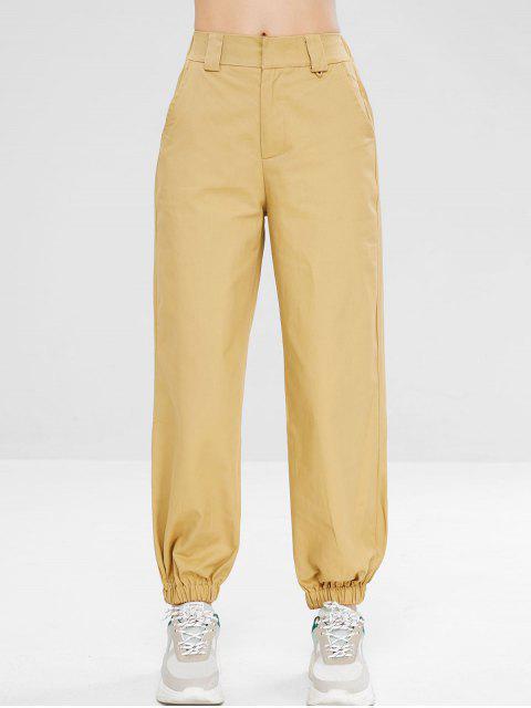 Zip Fly pantalones jogger casuales - Caqui Claro S Mobile