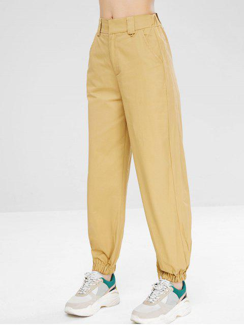 Zip Fly pantalones jogger casuales - Caqui Claro M Mobile