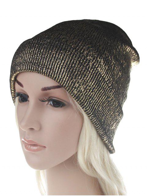 buy Unique Metallic Color Flanging Beanie - GOLD  Mobile
