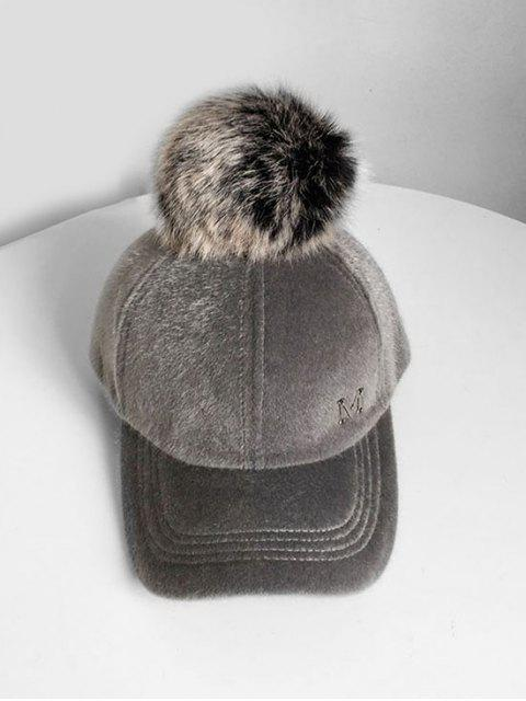 online Letter M Fuzzy Ball Baseball Hat - GRAY  Mobile