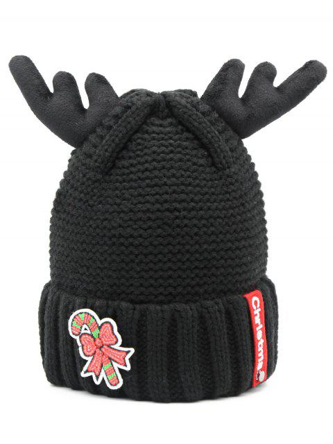 outfit Christmas Cane Antler Knitted Beanie - BLACK  Mobile
