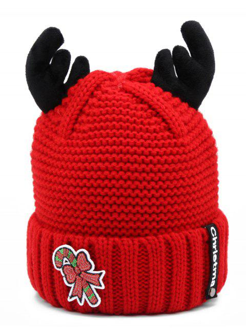 womens Christmas Cane Antler Knitted Beanie - RED  Mobile