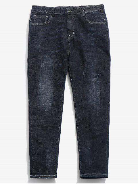 outfit Zipper Straight Leg Ripped Cuffed Jeans - DENIM DARK BLUE 34 Mobile