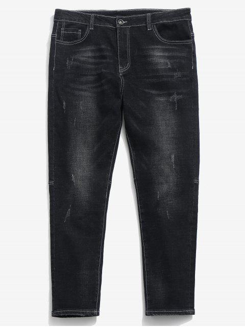 trendy Zipper Fly Frayed Hem Design Jeans - BLACK 38 Mobile
