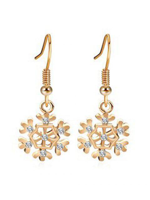 sale Rhinestone Inlaid Snowflake Christmas Earrings - GOLD  Mobile