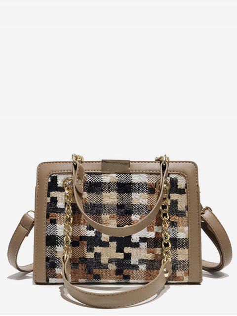 Statement Plaid Printed Handbag - Светлый хаки  Mobile