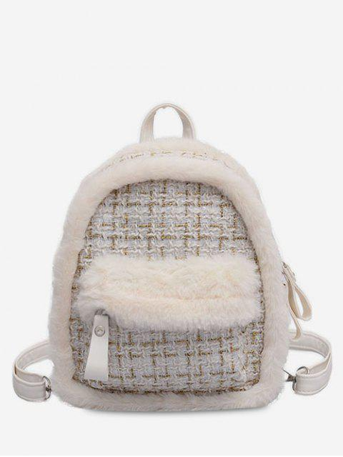 chic Plaid Fluffy Design Backpack - WHITE  Mobile