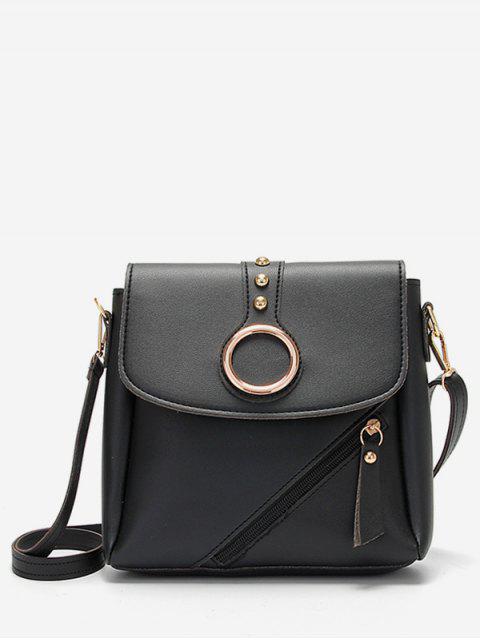 buy Rivet Design Metal Hoop Crossbody Bag - BLACK  Mobile