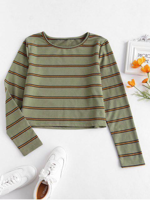 ZAFUL camiseta de manga larga a rayas - Ejercito Verde M Mobile
