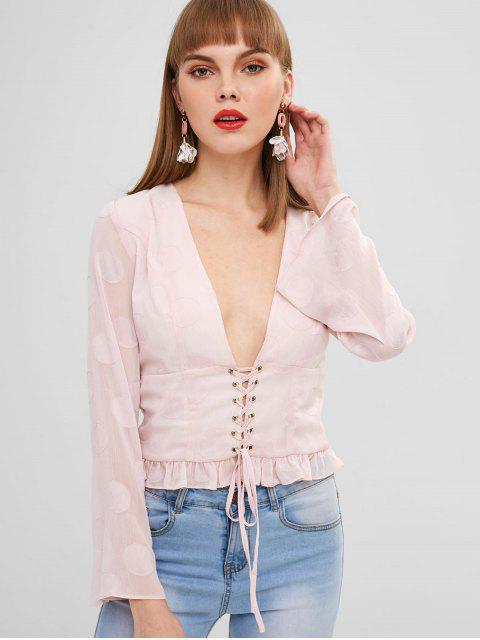 online ZAFUL Plunge Lace-up Ruffled Blouse - PINK XL Mobile