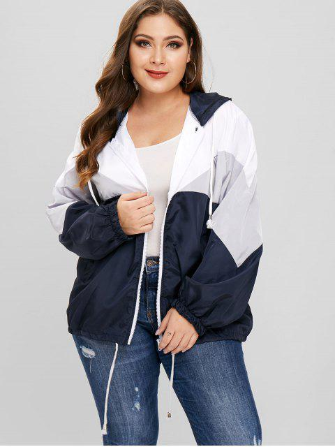 women's Tricolor Plus Size Light Windbreaker Jacket - GRAY 2X Mobile