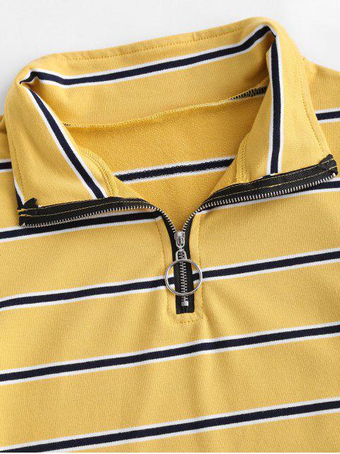 shop ZAFUL Striped Crop Half Zip Tee - BEE YELLOW S Mobile