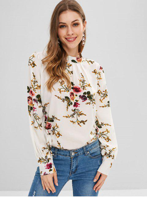lady Floral Print Pleated Front Blouse - WHITE M Mobile
