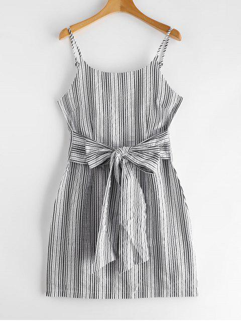 Vestido cami de rayas con nudo de Seersucker - Blanco M Mobile