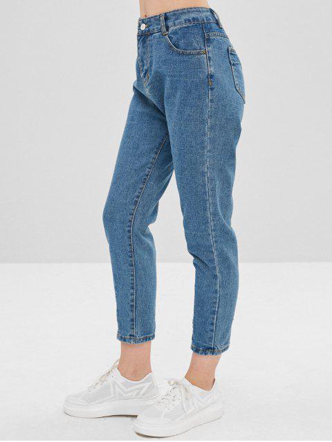 Jeans rectos de talle alto lisos - Azul de Jeans  XL Mobile
