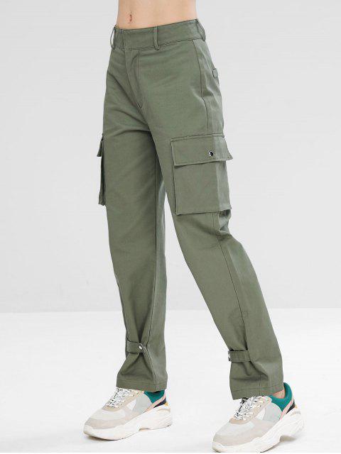 Zip Fly Sport Casual pantalones de carga - Turquesa Gris L Mobile