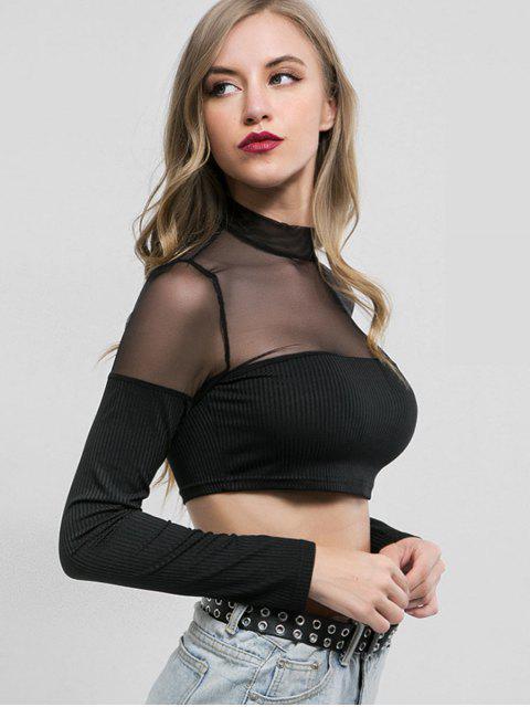 affordable Mesh Panel Long Sleeves Crop Tee - BLACK M Mobile