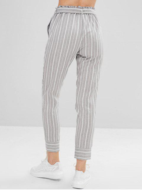 outfits Belted Striped High Waisted Tapered Pants - MULTI S Mobile