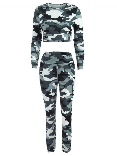 online Sport Gym Camo Tee and Leggings Set - MULTI L Mobile