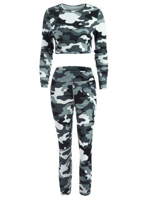 Sport Gym Camo T-Shirt und Leggings Set - Multi L Mobile