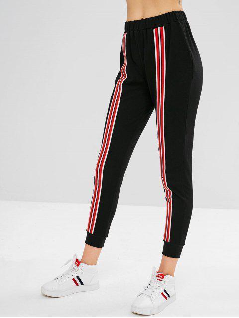 Pantalón basculador parcheado de rayas ZAFUL - Negro M Mobile