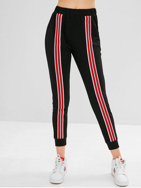 Pantalón basculador parcheado de rayas ZAFUL - Negro L Mobile