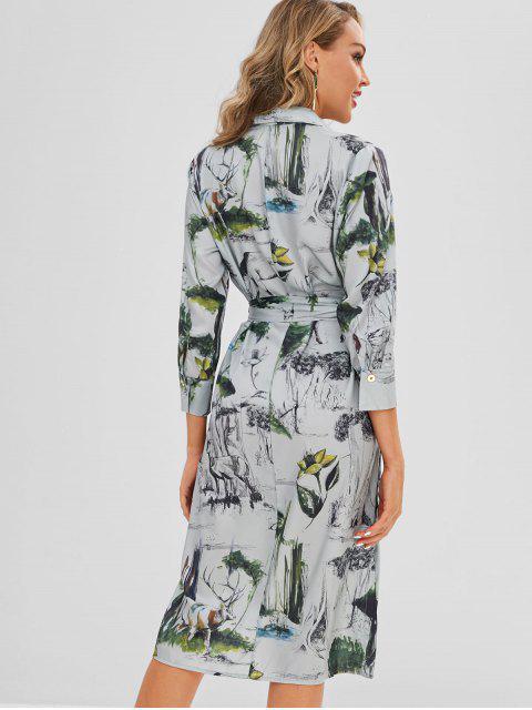 Robe Chemise Imprimée Boutonnée sur le Côté - Multi S Mobile