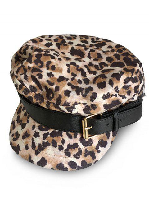 lady Stylish Leopard Print Newsboy Hat - YELLOW  Mobile
