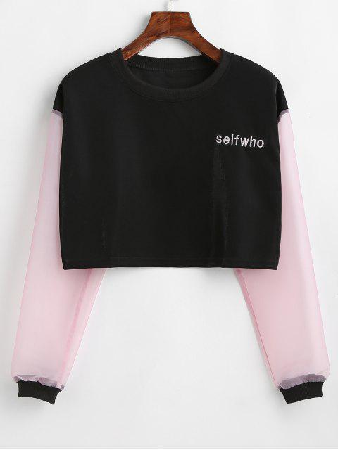fancy Color Block Letter Embroidered Crop Sweatshirt - BLACK ONE SIZE Mobile