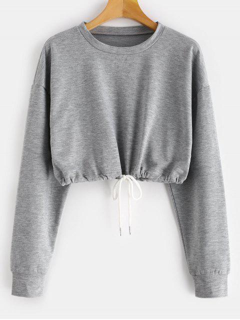 hot ZAFUL Crop Drop Shoulder Sweatshirt - GRAY S Mobile