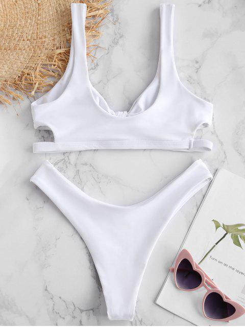 shop ZAFUL Keyhole Tied Bikini Set - WHITE S Mobile