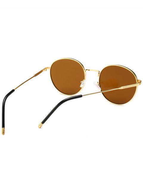 hot Retro Metal Frame Round Sunglasses - BROWN  Mobile