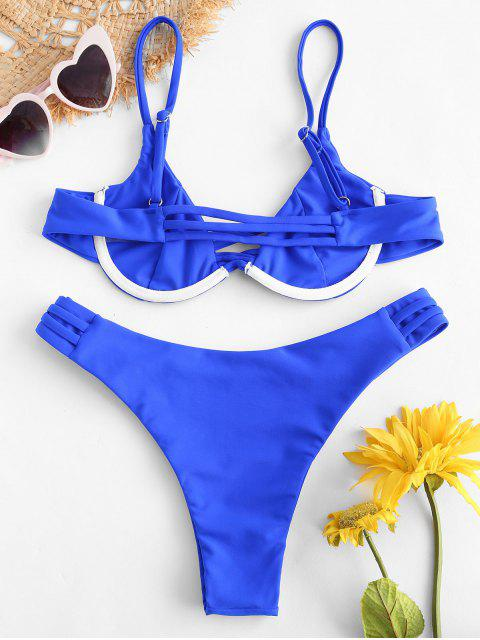 affordable ZAFUL Strappy Underwire Bikini Set - COBALT BLUE S Mobile