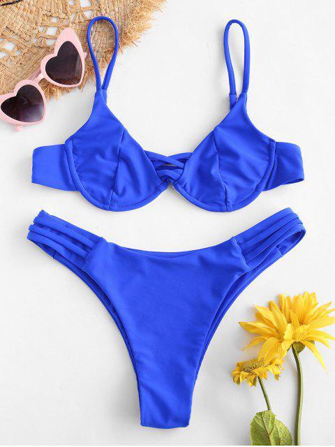 latest ZAFUL Strappy Underwire Bikini Set - COBALT BLUE M Mobile