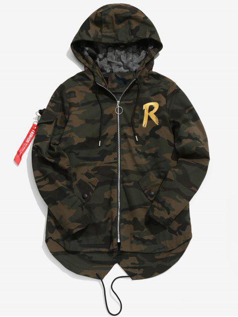 latest High Low Hem Hooded Camo Jacket - MULTI-B L Mobile