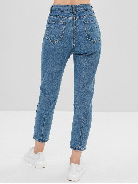 hot Plain High Waisted Straight Jeans - JEANS BLUE M Mobile