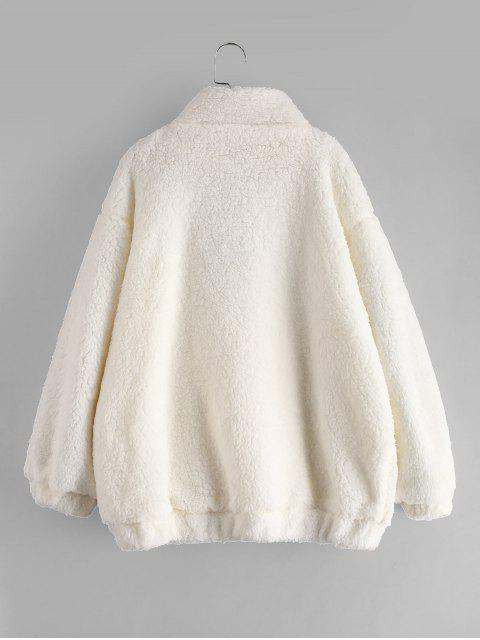 outfits Slip Pockets Faux Fur Teddy Coat - WHITE S Mobile