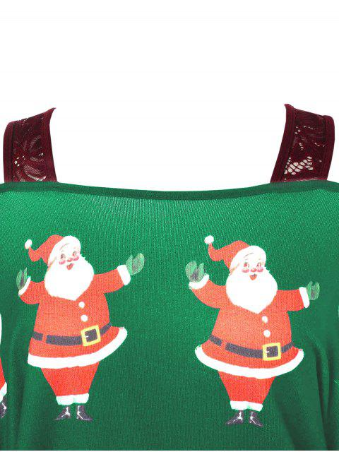 Plus Size Christmas Santa Claus Print Asymmetrical T-shirt - 三葉草綠色 L Mobile