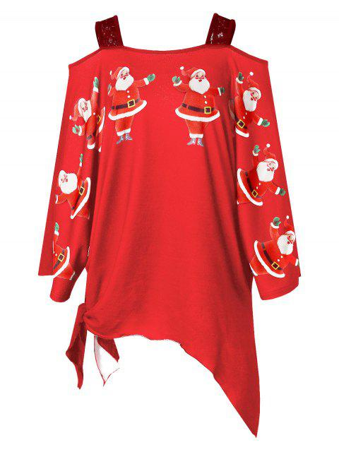 latest Plus Size Christmas Santa Claus Print Asymmetrical T-shirt - RED 1X Mobile