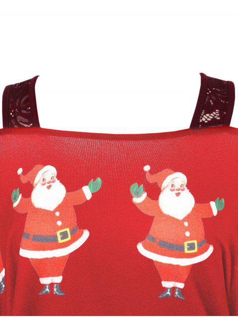 fashion Plus Size Christmas Santa Claus Print Asymmetrical T-shirt - RED L Mobile