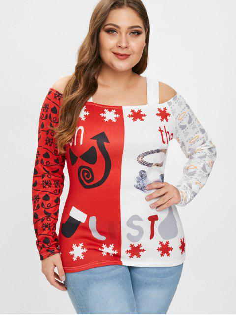 outfits Plus Size Cold Shoulder Christmas Graphic Tee - RED 3X Mobile
