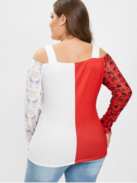 fashion Plus Size Cold Shoulder Christmas Graphic Tee - RED 1X Mobile
