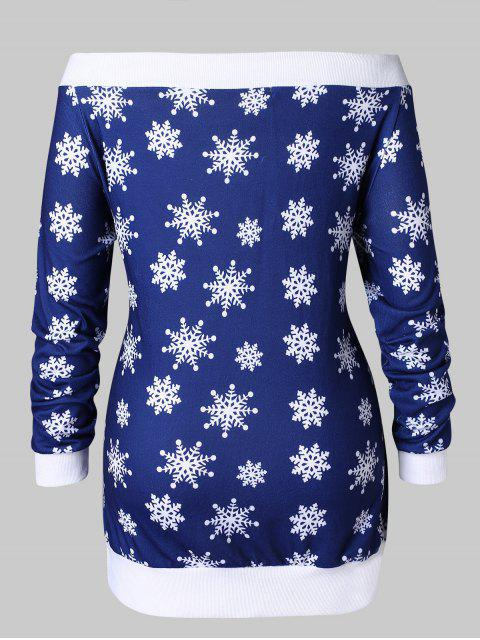 lady Plus Size Santa Claus Snowflake Off Shoulder Christmas T-shirt - DEEP BLUE 3X Mobile