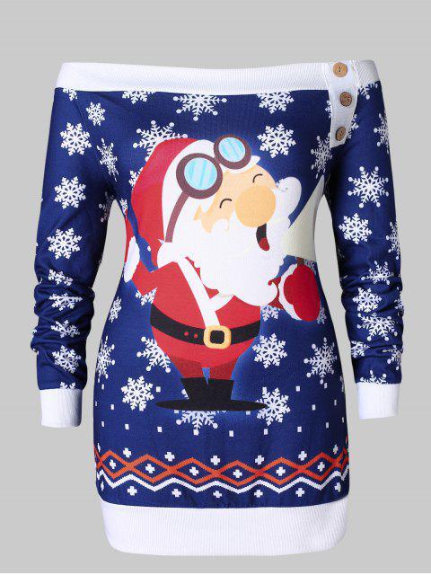 Plus Size Santa Claus Snowflake Off Shoulder Christmas T-shirt - 深藍 2X Mobile